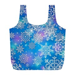 Snowflake Background Blue Purple Full Print Recycle Bag (l)