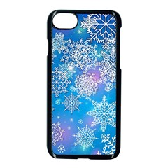 Snowflake Background Blue Purple Apple Iphone 7 Seamless Case (black)