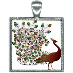 Peacock Graceful Bird Animal Square Necklace