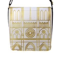 Gold Foil Notre Dame Church Paris Flap Closure Messenger Bag (l)