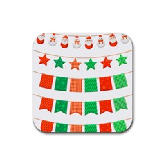 Christmas Bunting Banners Tassel Rubber Coaster (square)  by Wegoenart