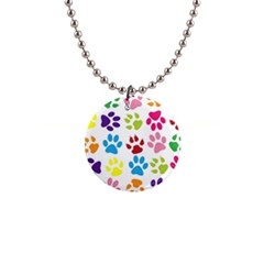 Paw Print Paw Prints Background 1  Button Necklace by Wegoenart
