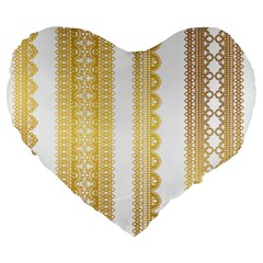 Lace Gold Euclidean Vector Large 19  Premium Flano Heart Shape Cushions