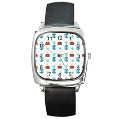 Geometric Patterns Pattern Candles Lights Square Metal Watch