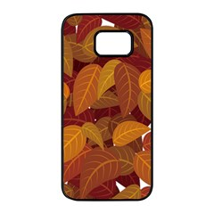 Leaves Pattern Samsung Galaxy S7 Edge Black Seamless Case