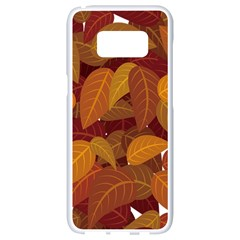 Leaves Pattern Samsung Galaxy S8 White Seamless Case