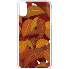 Leaves Pattern Apple Iphone Xs Seamless Case (white)