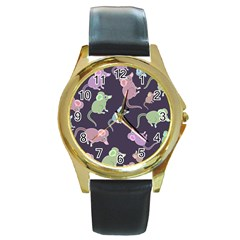 Animals Mouse Cartoon Pet Round Gold Metal Watch