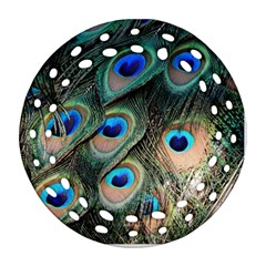 Peacock Feathers Bird Colorful Ornament (round Filigree) by Wegoenart