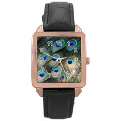 Peacock Feathers Bird Colorful Rose Gold Leather Watch