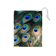 Peacock Feathers Bird Colorful Drawstring Pouch (medium)
