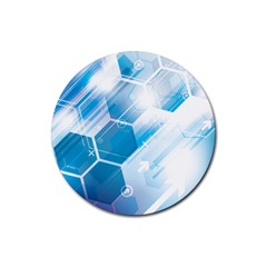 Hexagon Euclidean Vector Gradient Del  Blue Color Science And Technology Rubber Round Coaster (4 Pack)