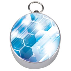 Hexagon Euclidean Vector Gradient Del  Blue Color Science And Technology Silver Compasses