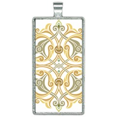 Brabesque Ornament Art Stencil Drawing Rectangle Necklace
