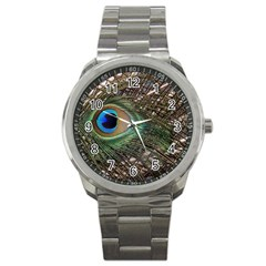 Peacock Tail Feathers Sport Metal Watch