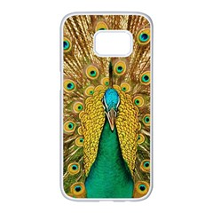 Peacock Feather Bird Peafowl Samsung Galaxy S7 Edge White Seamless Case by Wegoenart