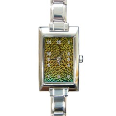 Peacock Bird Feather Color Rectangle Italian Charm Watch