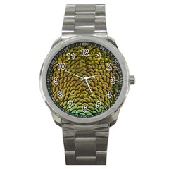 Peacock Bird Feather Color Sport Metal Watch