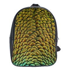 Peacock Bird Feather Color School Bag (large)