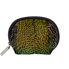 Peacock Bird Feather Color Accessory Pouch (small) by Wegoenart