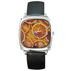Blood Orange Fruit Citrus Fruits Square Metal Watch