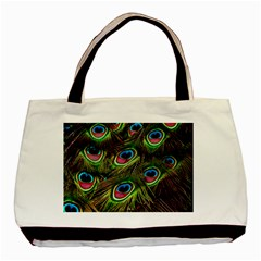 Peacock Feathers Feather Color Basic Tote Bag