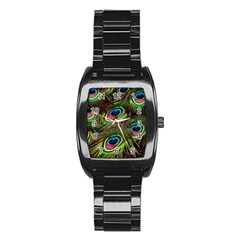 Peacock Feathers Feather Color Stainless Steel Barrel Watch