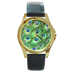 Peacock Feathers Peafowl Round Gold Metal Watch