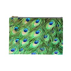 Peacock Feathers Peafowl Cosmetic Bag (large)