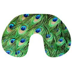 Peacock Feathers Peafowl Travel Neck Pillows by Wegoenart