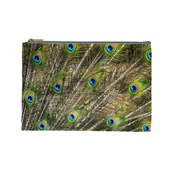 Peacock Feathers Color Plumag Cosmetic Bag (large) by Wegoenart