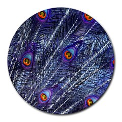 Peacock Feathers Color Plumage Round Mousepads