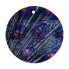 Peacock Feathers Color Plumage Ornament (round)