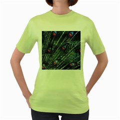 Peacock Feathers Color Plumage Women s Green T Shirt