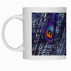 Peacock Feathers Color Plumage White Mugs
