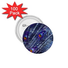Peacock Feathers Color Plumage 1 75  Buttons (100 Pack)