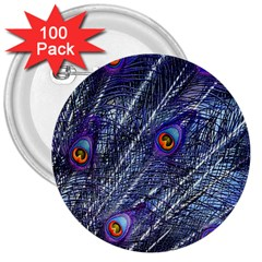 Peacock Feathers Color Plumage 3  Buttons (100 Pack)