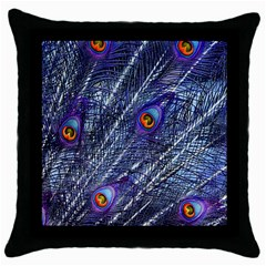Peacock Feathers Color Plumage Throw Pillow Case (black)