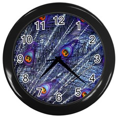 Peacock Feathers Color Plumage Wall Clock (black)