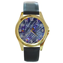 Peacock Feathers Color Plumage Round Gold Metal Watch