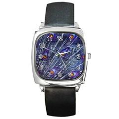Peacock Feathers Color Plumage Square Metal Watch