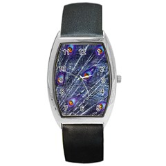 Peacock Feathers Color Plumage Barrel Style Metal Watch
