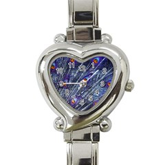 Peacock Feathers Color Plumage Heart Italian Charm Watch