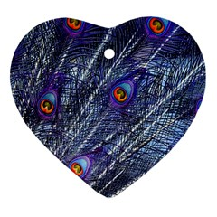 Peacock Feathers Color Plumage Heart Ornament (two Sides)
