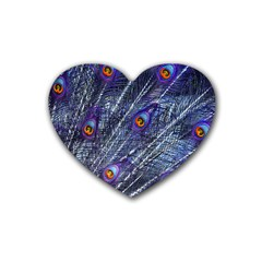 Peacock Feathers Color Plumage Heart Coaster (4 Pack)