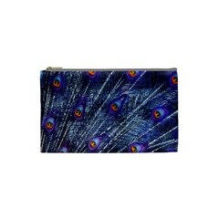 Peacock Feathers Color Plumage Cosmetic Bag (small)