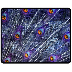 Peacock Feathers Color Plumage Fleece Blanket (medium)