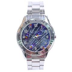 Peacock Feathers Color Plumage Stainless Steel Analogue Watch