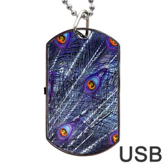Peacock Feathers Color Plumage Dog Tag Usb Flash (one Side)