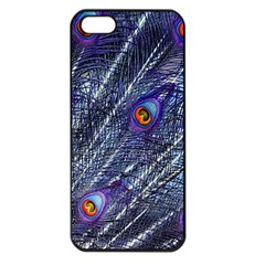 Peacock Feathers Color Plumage Apple Iphone 5 Seamless Case (black)